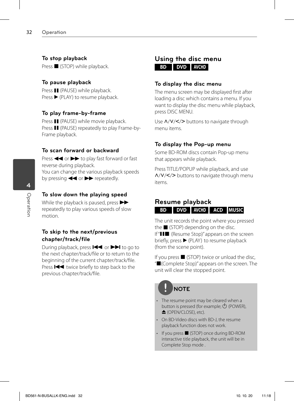 Using the disc menu, Resume playback | LG BD550 User Manual | Page ...