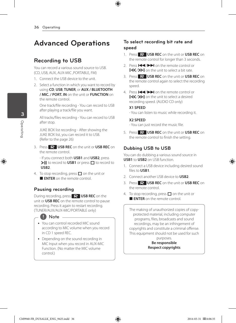 advanced operations recording to usb lg cm9940 user manual page rh manualsdir com LG Flip Phone Manual LG Touch Phone Operating Manual