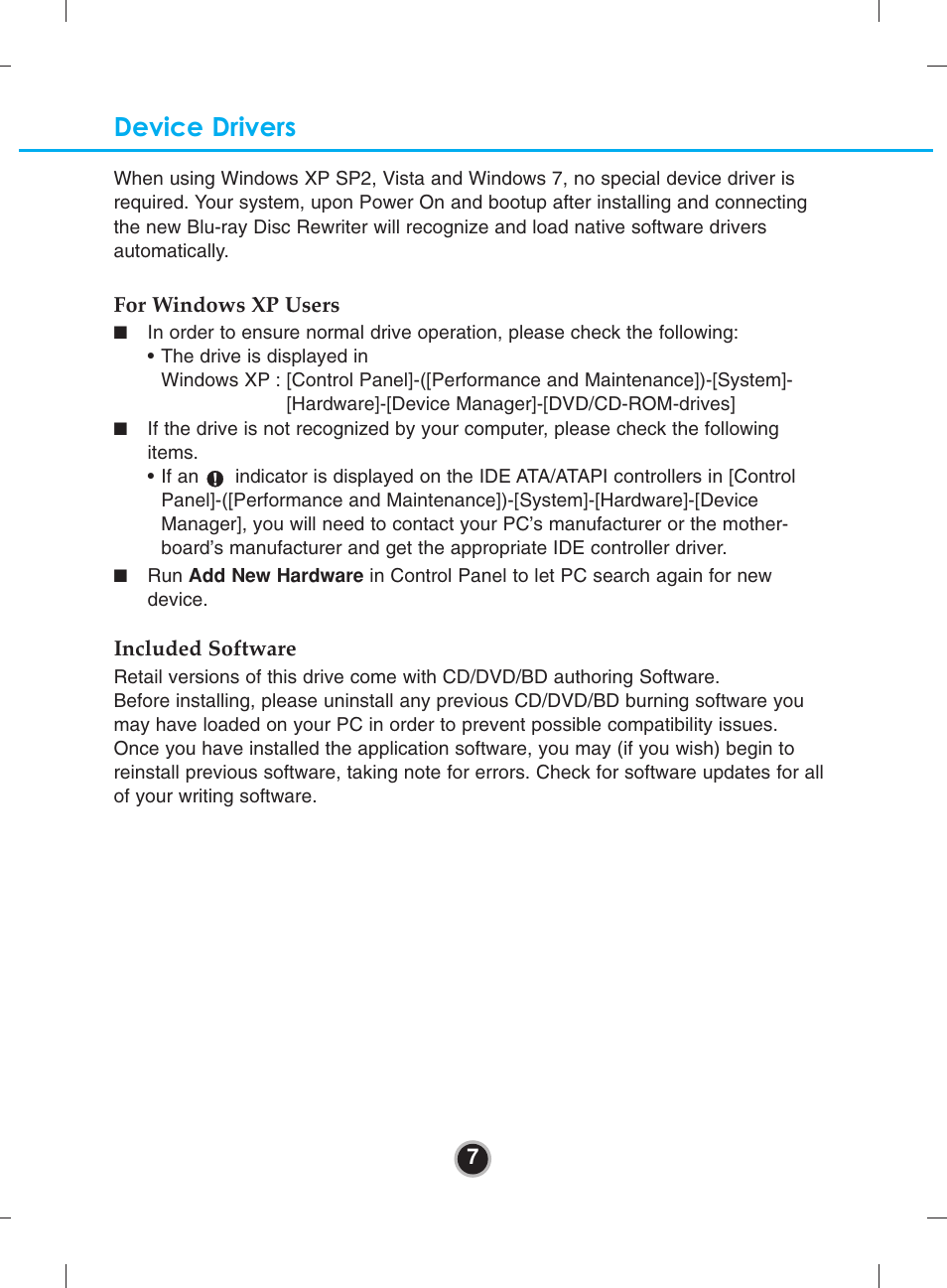 Device drivers | LG BH10LS30 User Manual | Page 10 / 15