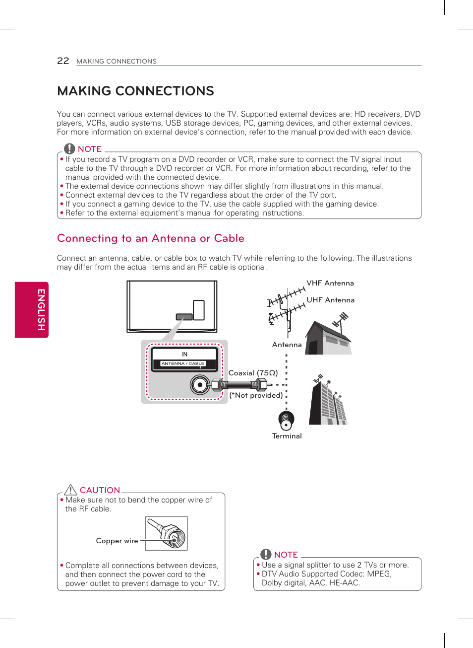 Making Connections Connecting To An Antenna Or Cable Lg 55ub8500 Tv Signal Splitter Wiring Diagram User Manual Page 22 40