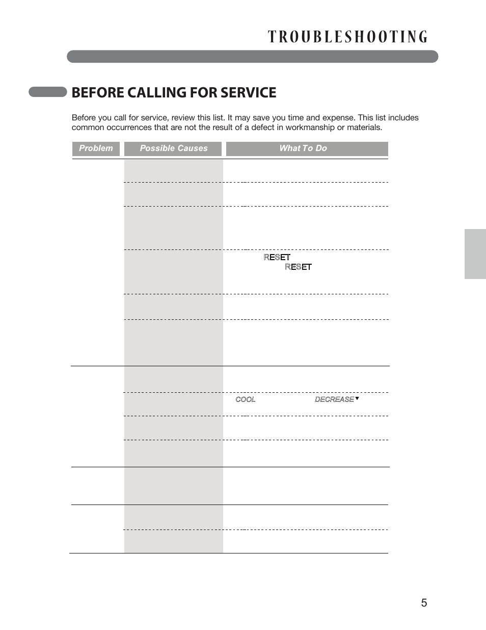 Before Calling For Service  English