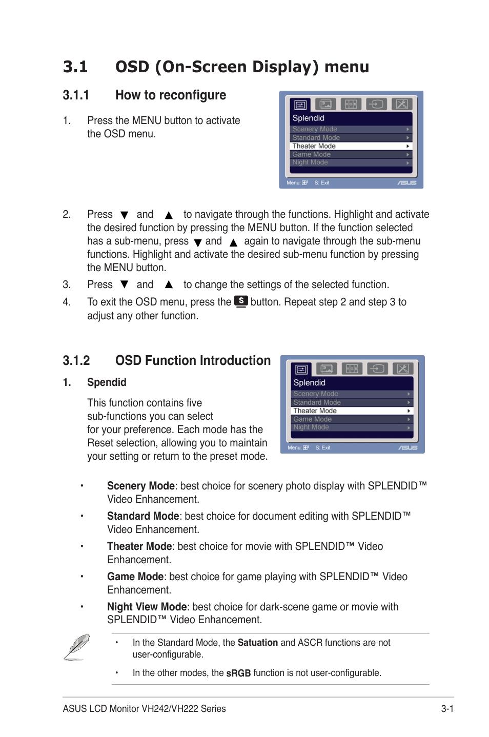 1 osd on screen display menu 1 how to reconfigure 2 osd function rh manualsdir com Asu Uniform Setup Measurements U.S. Army Asu Uniform Guide