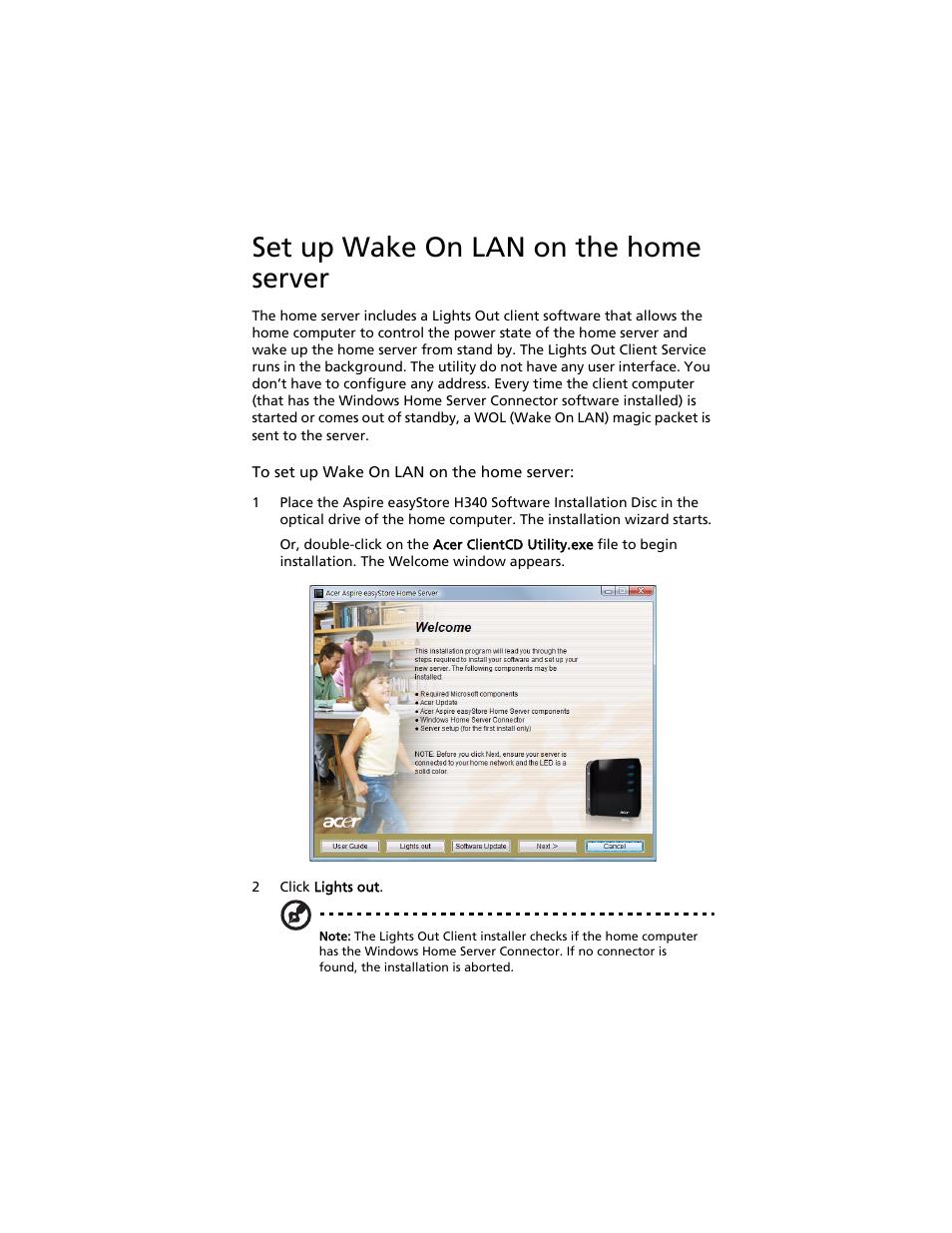set up wake on lan on the home server r to u201cset up wake on lan rh manualsdir com Acer Aspire 5100-3583 Acer Aspire 6930 Support