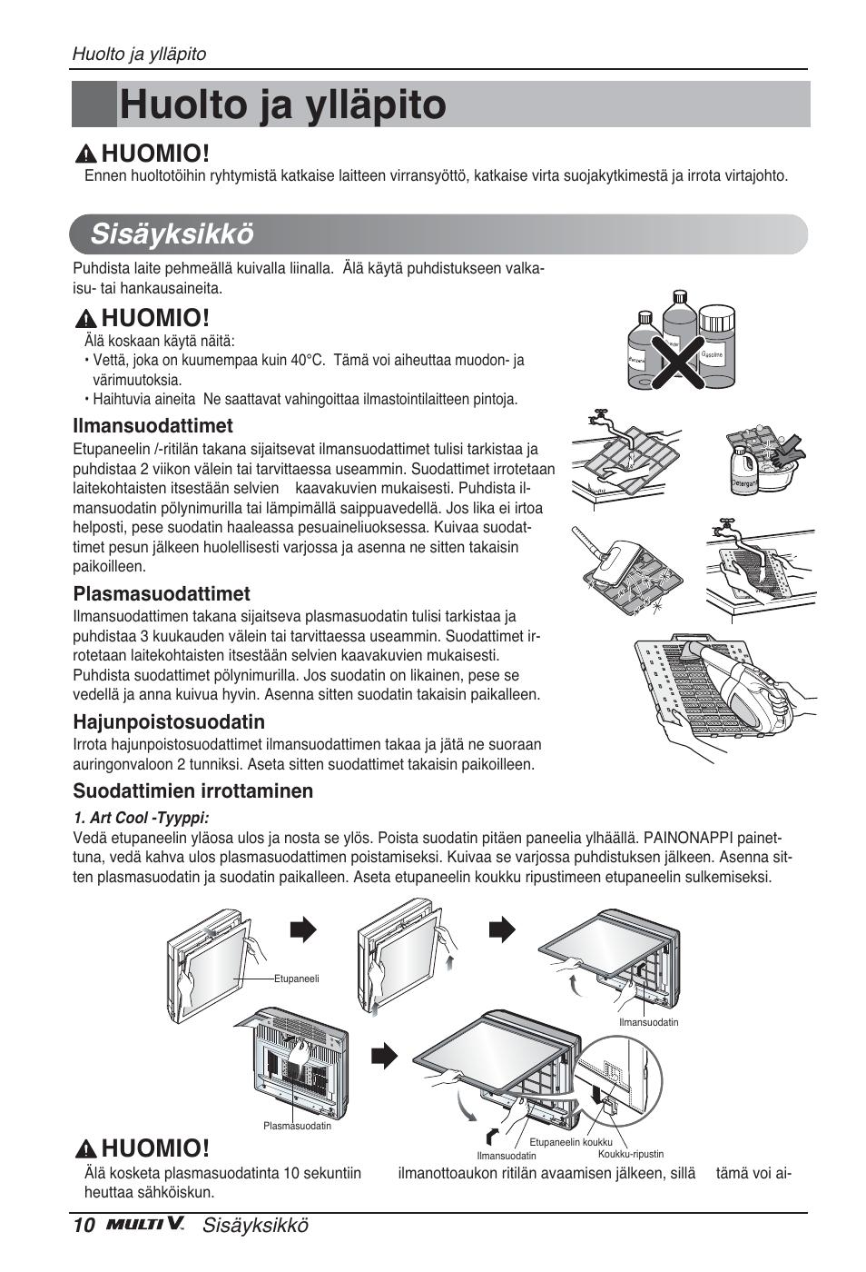 Huolto ja ylläpito, Sisäyksikkö, Huomio | LG ARNU12GSFV2 User Manual