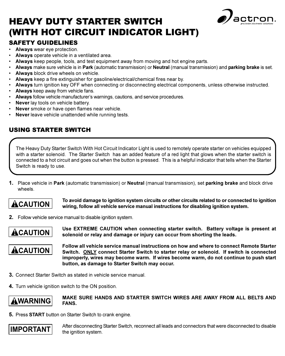 Actron Starter Switch User Manual | 2 pages | Also for: CP7854 H__D ...