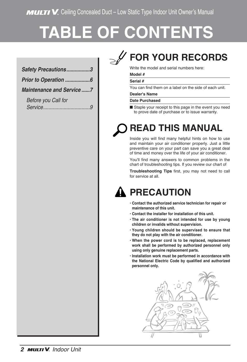 LG ARNU24GL3G2 User Manual | Page 2 / 190 | Original mode