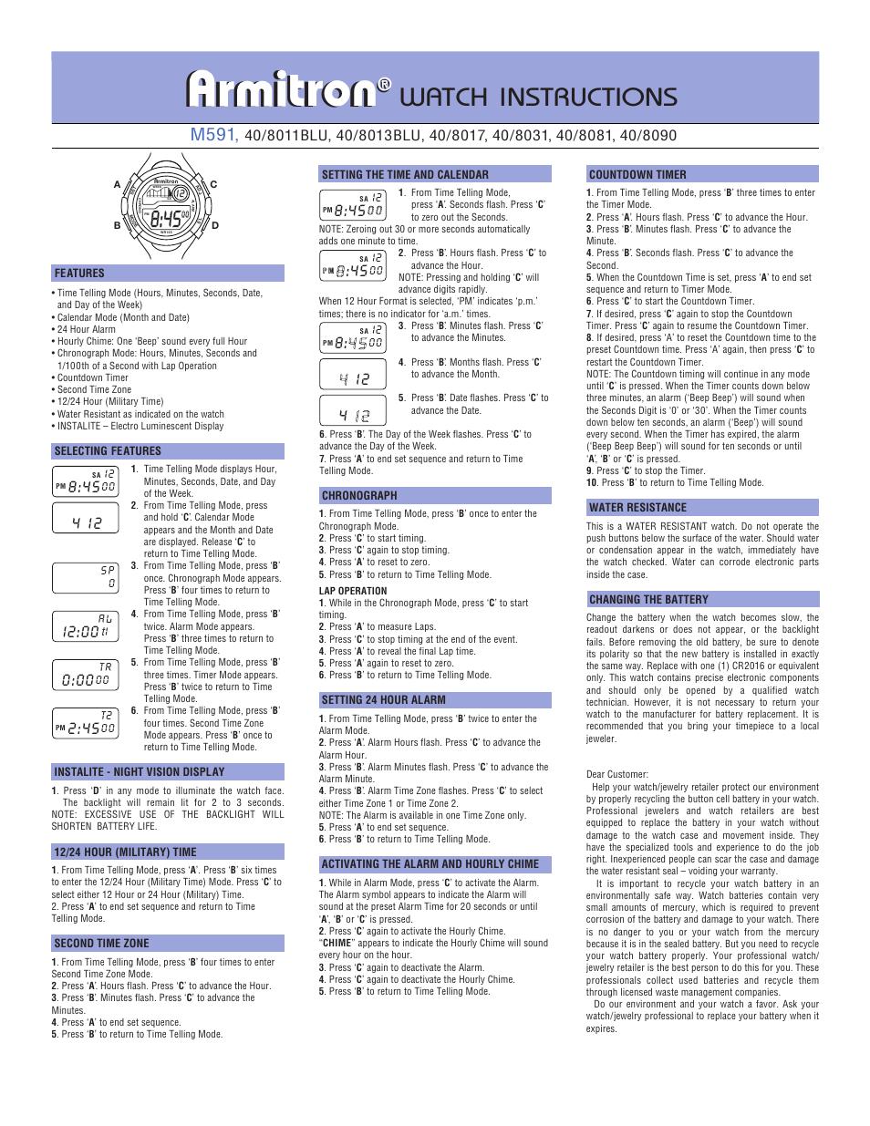 Armitrongentsdigital2.pdf, Armitron, Tron   Armitron 40/8095SIL User Manual   Page 2 / 2