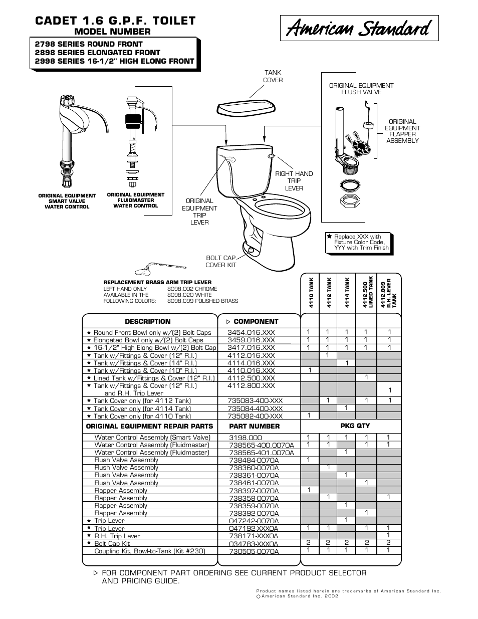 American Standard 2798 Series User Manual 1 Page