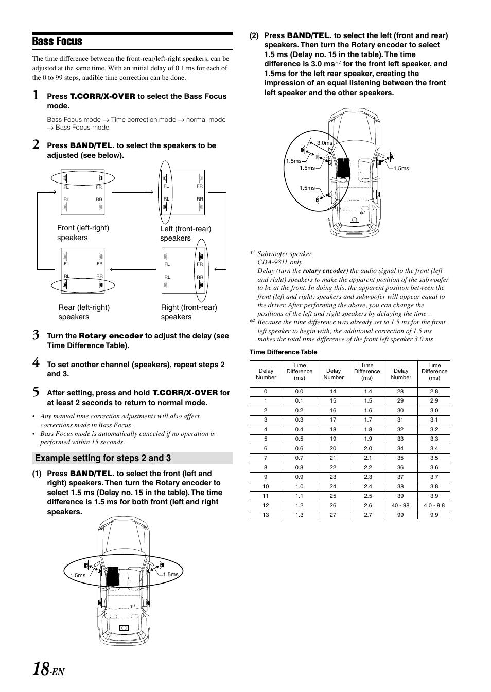 bass focus example setting for steps 2 and 3 alpine cda 9813 user rh manualsdir com Alpine CDA 9813 Specs Alpine CDA 9815