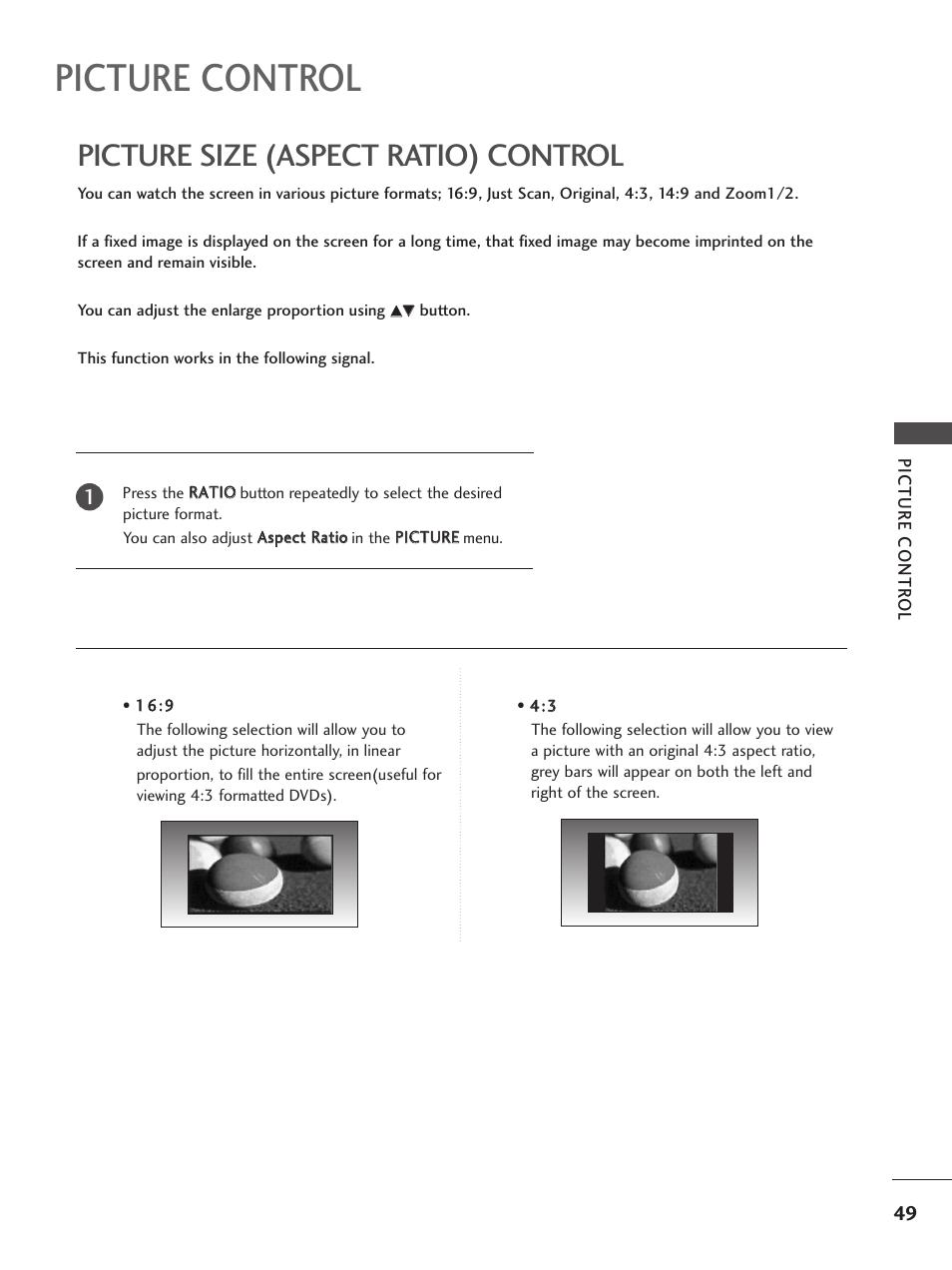 Picture control, Picture size (aspect ratio) control | LG