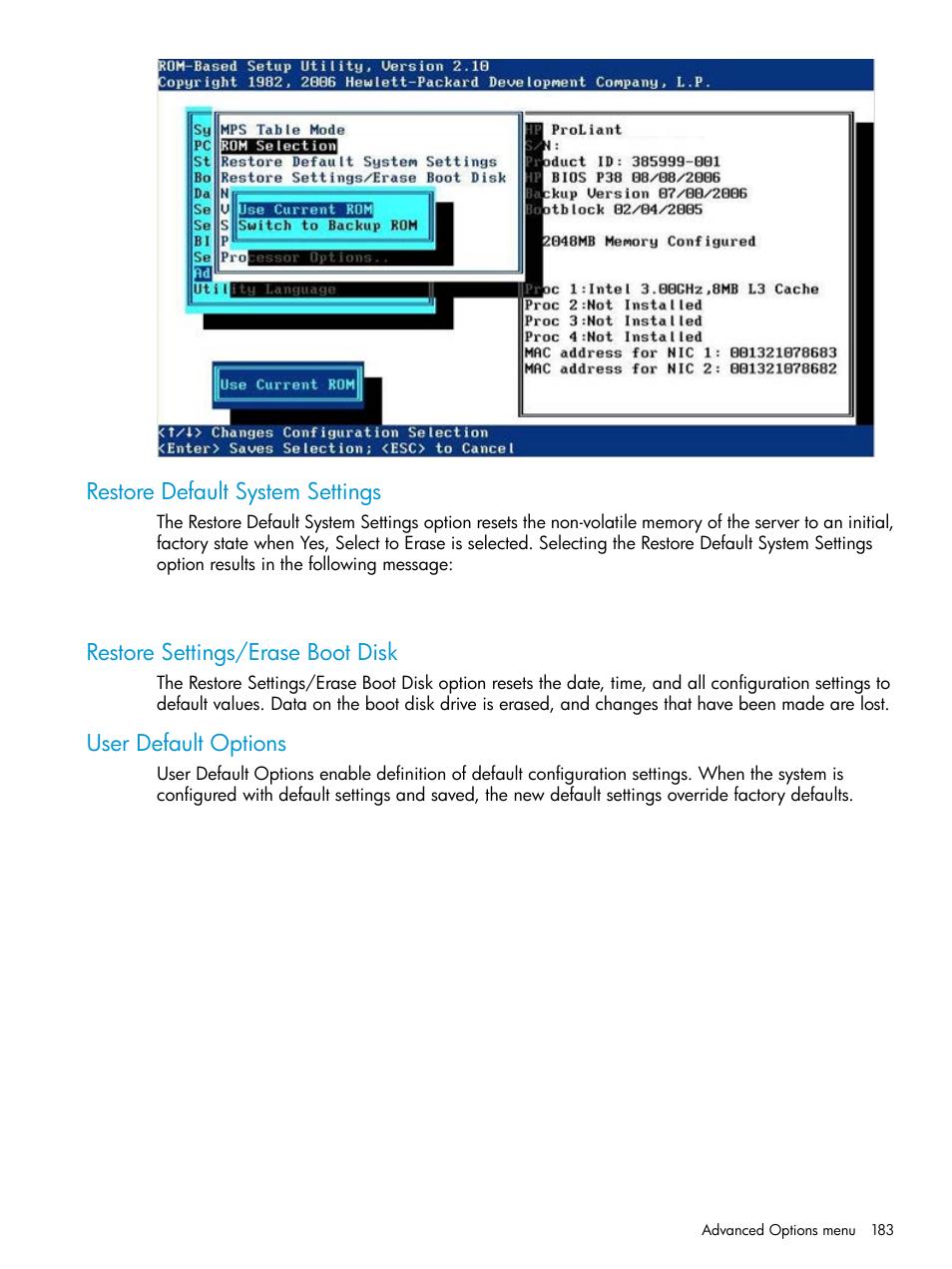 Restore default system settings, Restore settings/erase boot