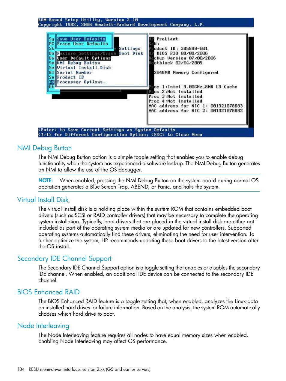 Nmi debug button, Virtual install disk, Secondary ide