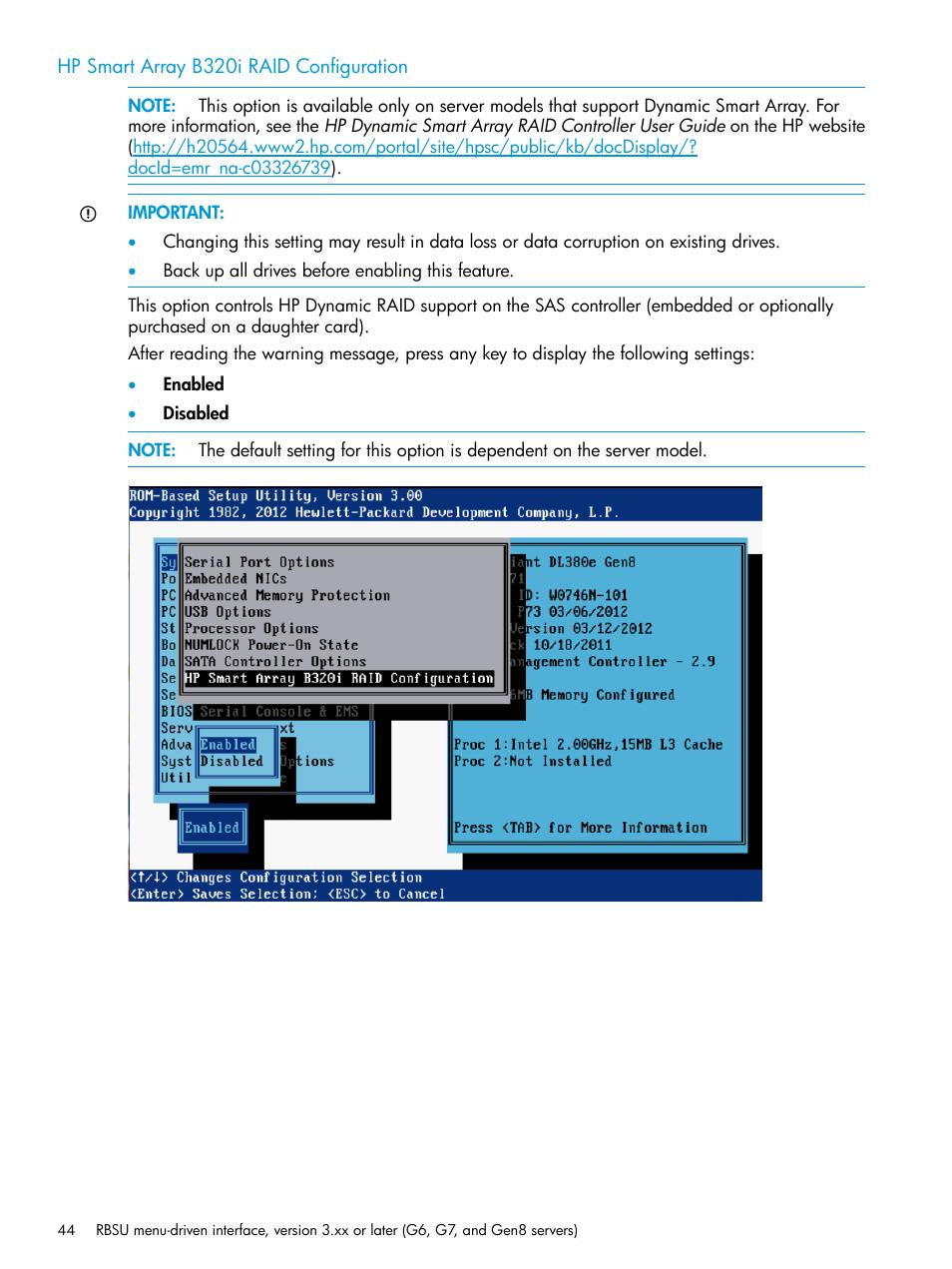 Hp smart array b320i raid configuration   HP ROM-Based Setup Utility