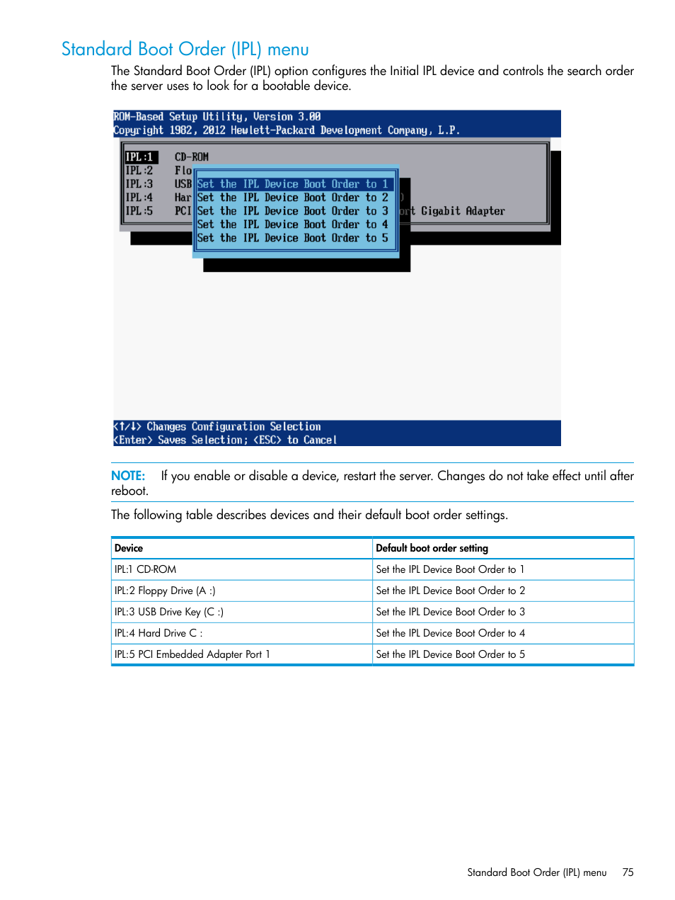 low priced d1aee 9bcfe Standard boot order (ipl) menu | HP ROM-Based Setup Utility ...