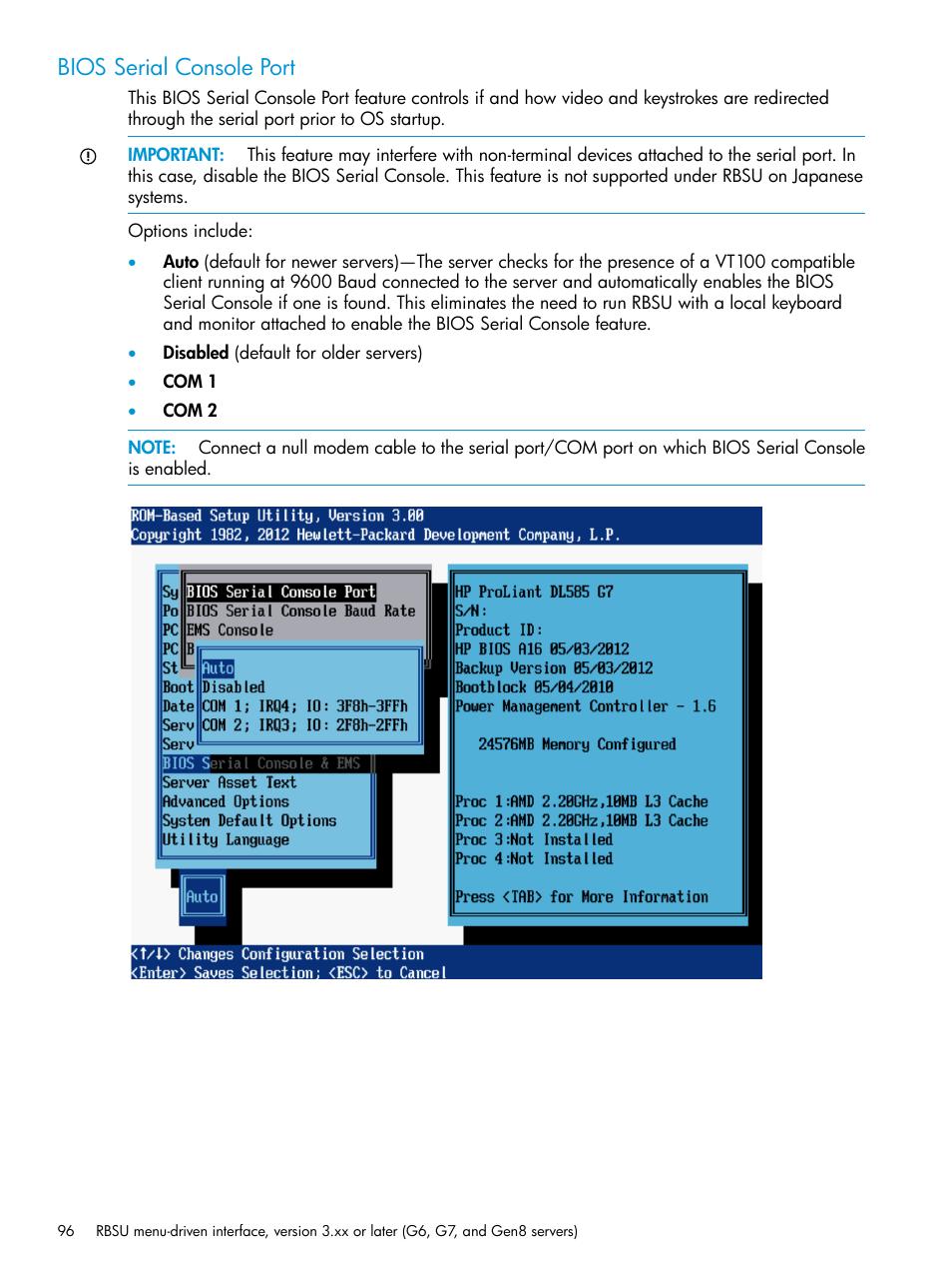 Bios serial console port | HP ROM-Based Setup Utility User Manual