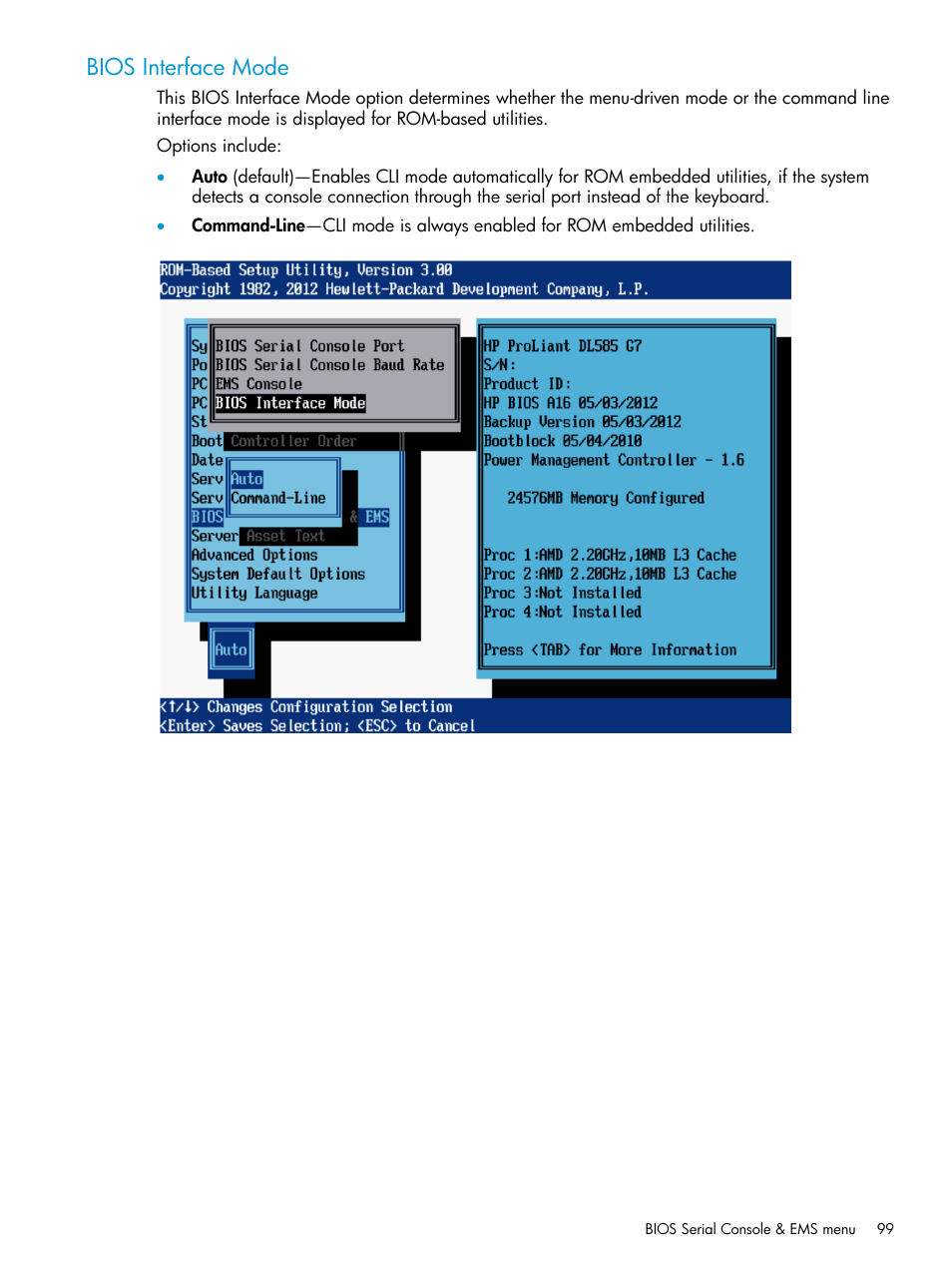 Bios interface mode | HP ROM-Based Setup Utility User Manual | Page
