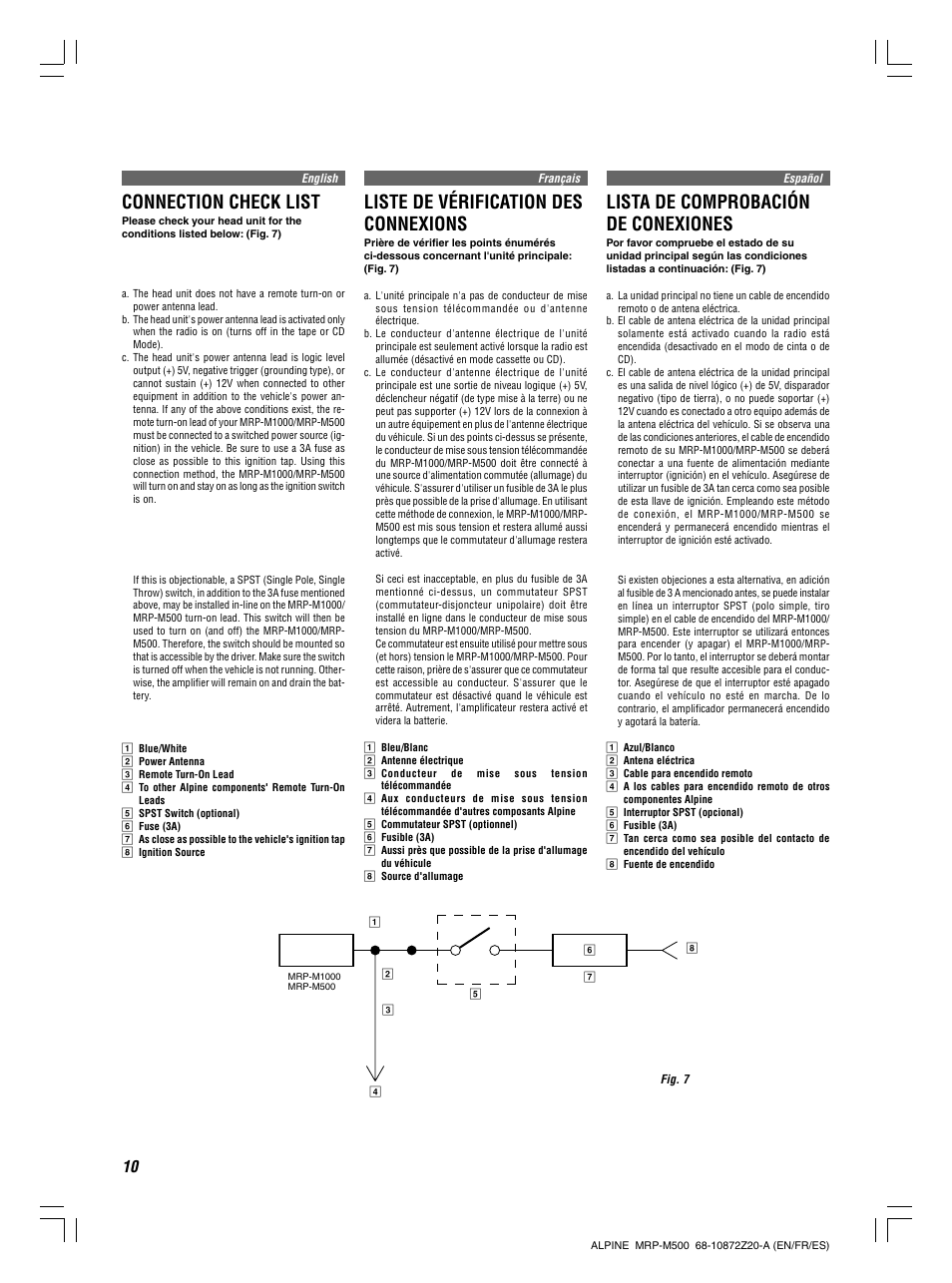 connection check list liste de v rification des connexions lista rh manualsdir com alpine v-power mrp-m500 manual Alpine MRP M350