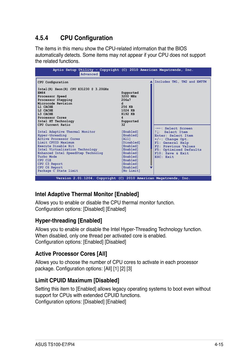 4 cpu configuration, Intel adaptive thermal monitor [enabled