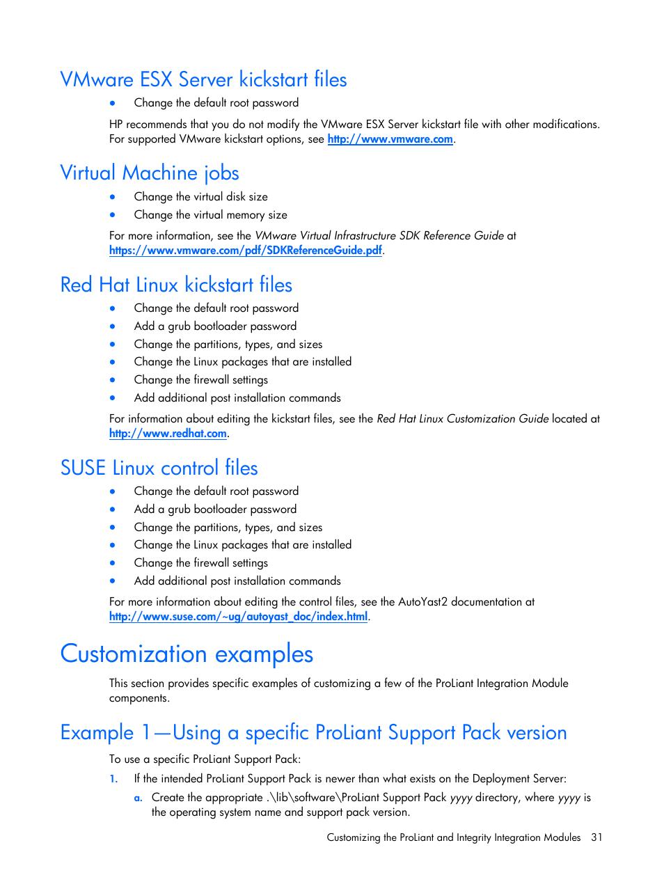 Vmware esx server kickstart files, Virtual machine jobs, Red hat