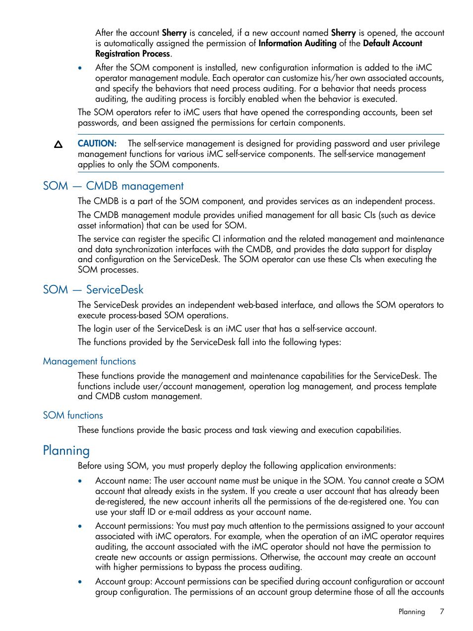 Som — cmdb management, Som — servicedesk, Management