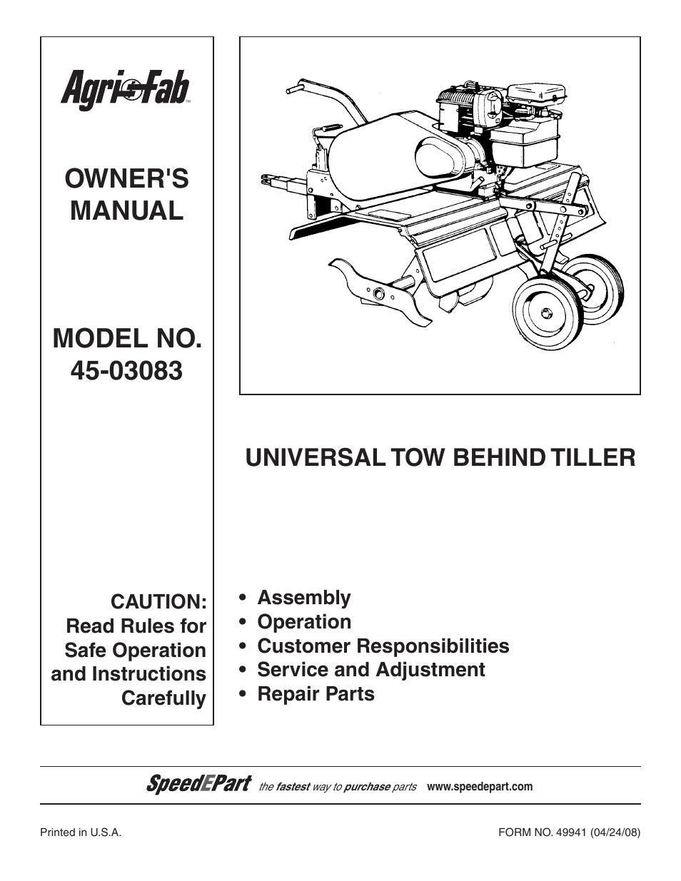 Owners manual model no. Modelo no. Modã¨le no. Utility. Agri-fab.