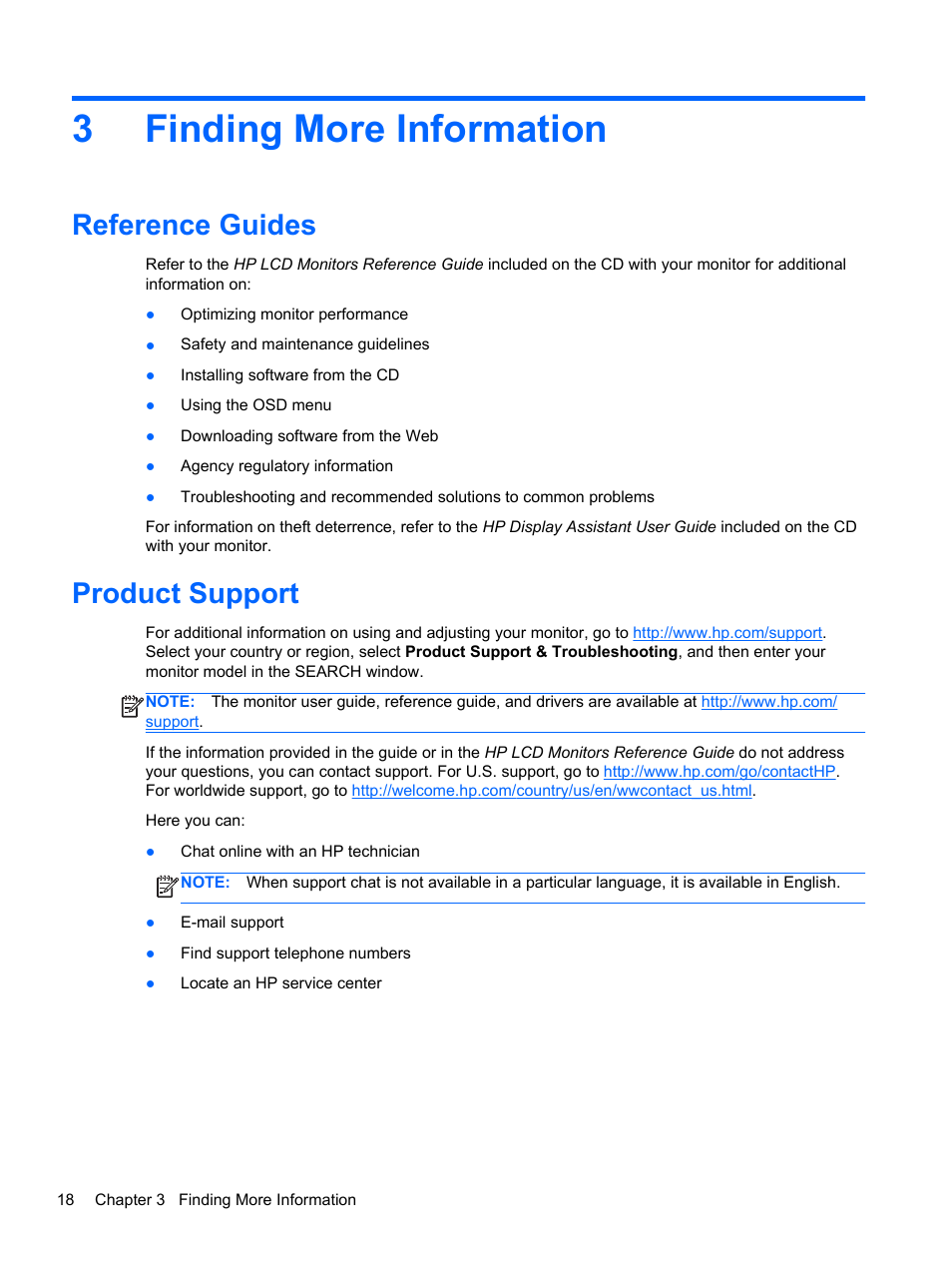 Finding more information, Reference guides, Product support