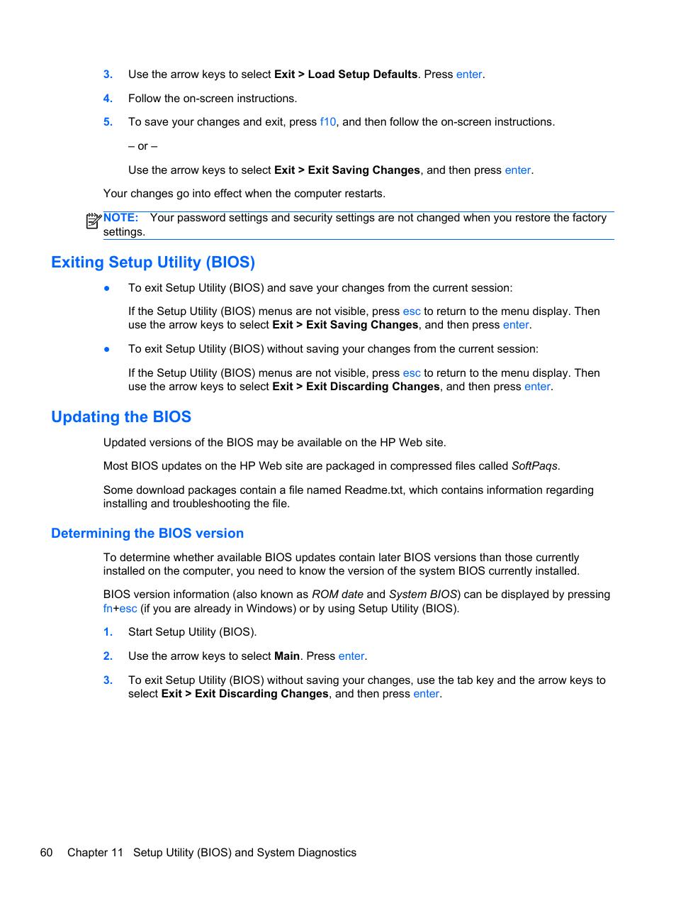Hp notebook system bios update - Hp Notebook Factory Reset Restore Factory Bios Hp Exiting Setup Utility Bios Updating The Bios