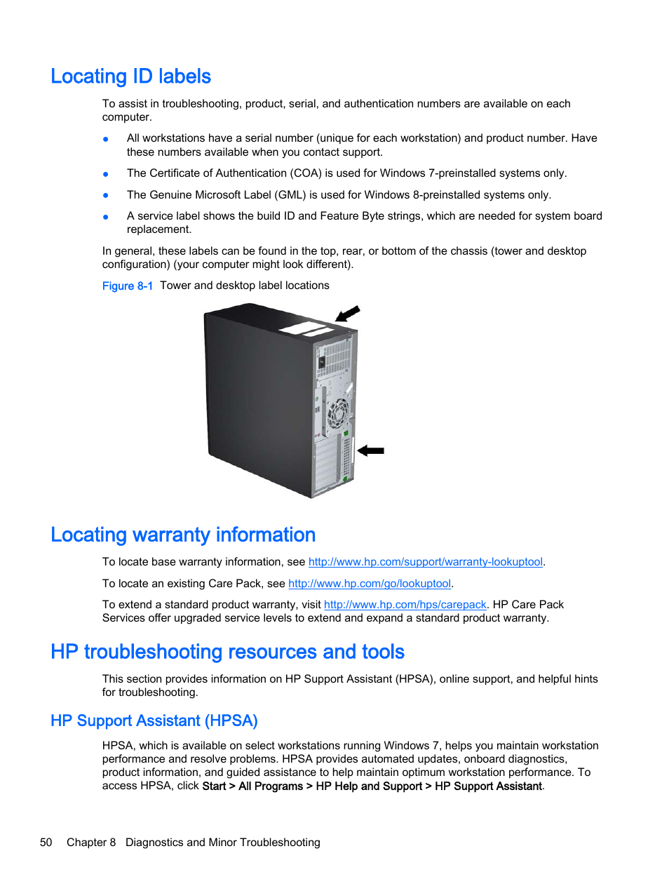 Locating id labels, Locating warranty information, Hp