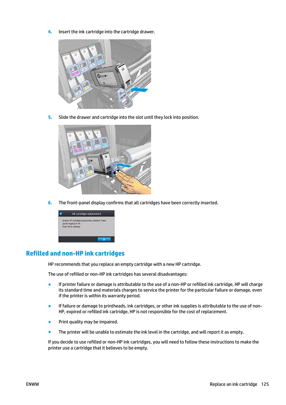 Refilled and non-hp ink cartridges | HP Latex 360 Printer User Manual | Page