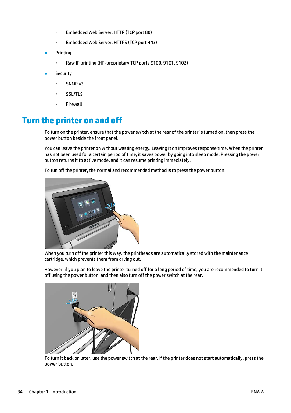 turn the printer on and off hp latex 360 printer user manual