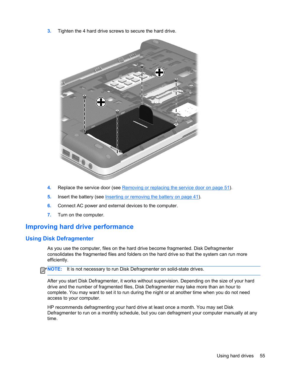 Improving hard drive performance, Using disk defragmenter