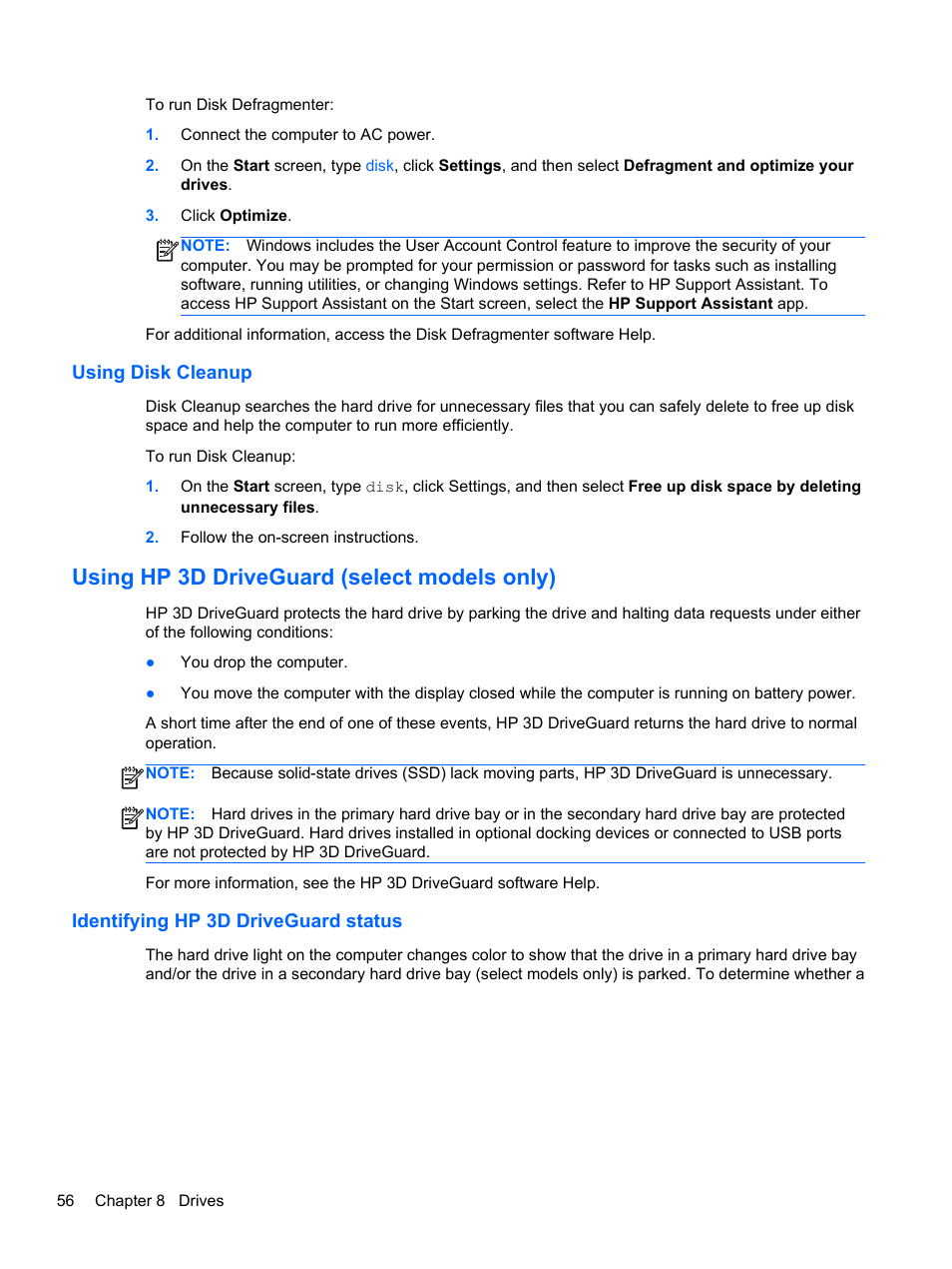 Using disk cleanup, Using hp 3d driveguard (select models only),  Identifying hp 3d driveguard status | HP ProBook 450 G1 Notebook PC User  Manual | Page 66 / ...