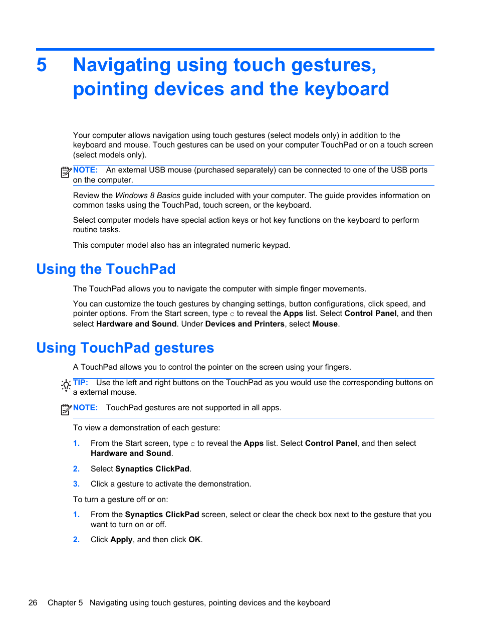 Using the touchpad, Using touchpad gestures, Using the