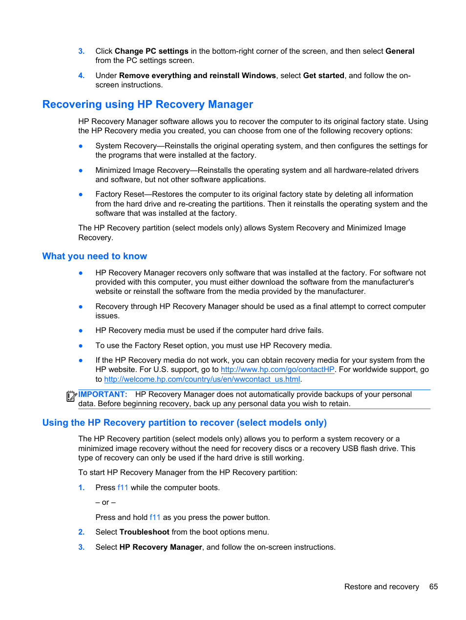 Recovering using hp recovery manager, What you need to know, Ion
