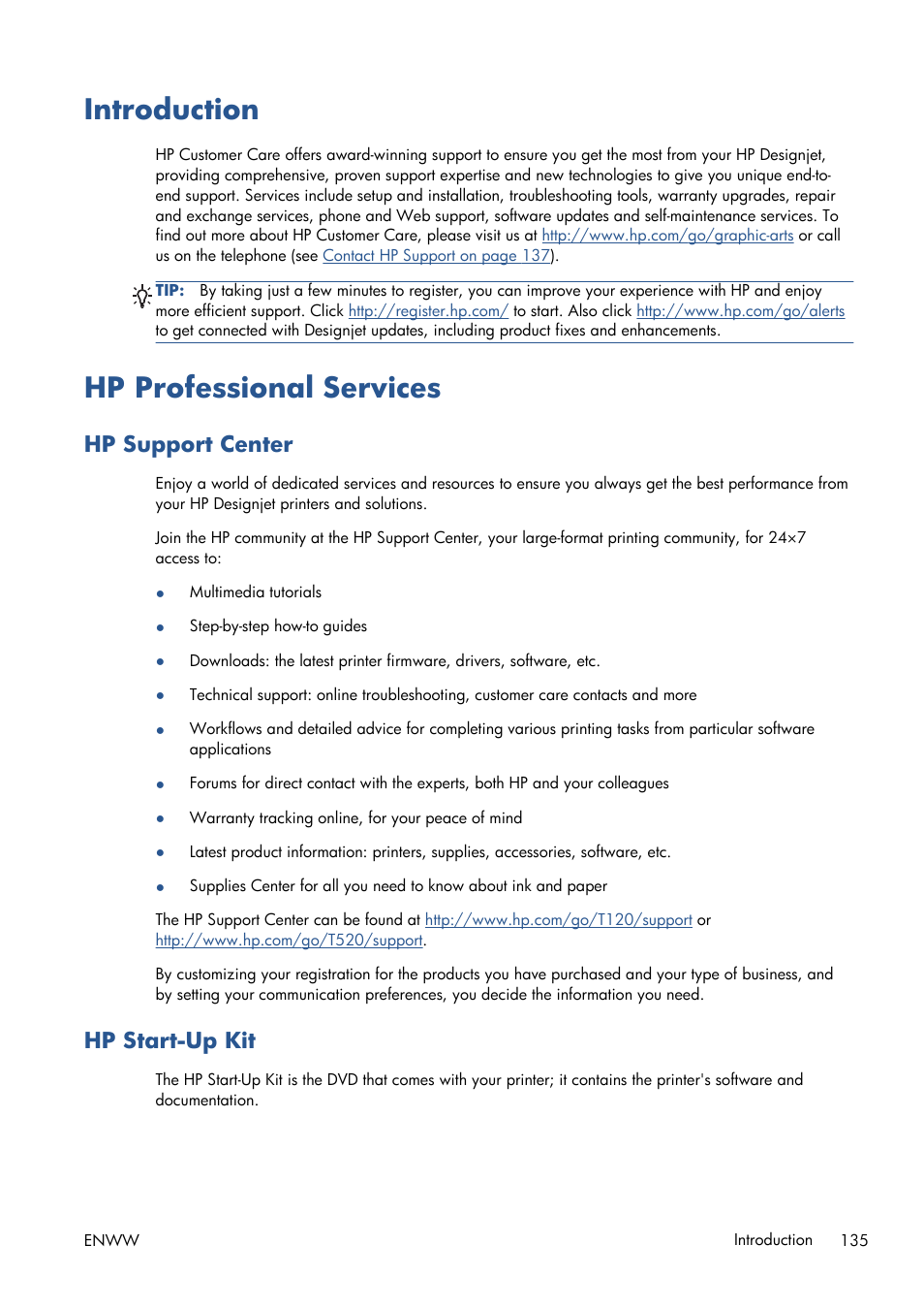 Introduction, Hp professional services, Hp support center   Hp start-up kit,