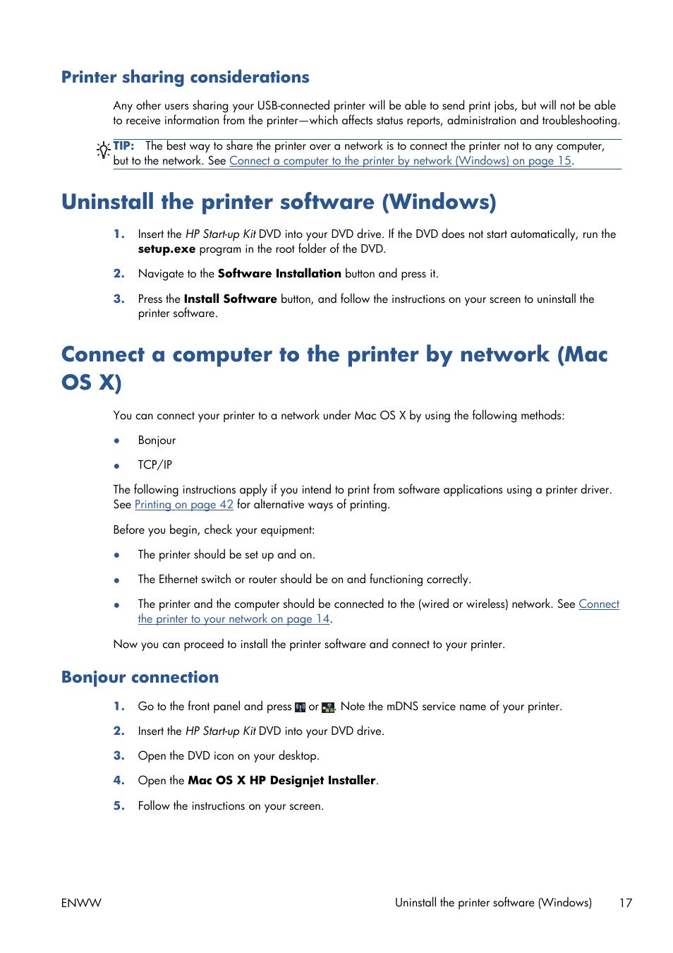 Printer sharing considerations, Uninstall the printer