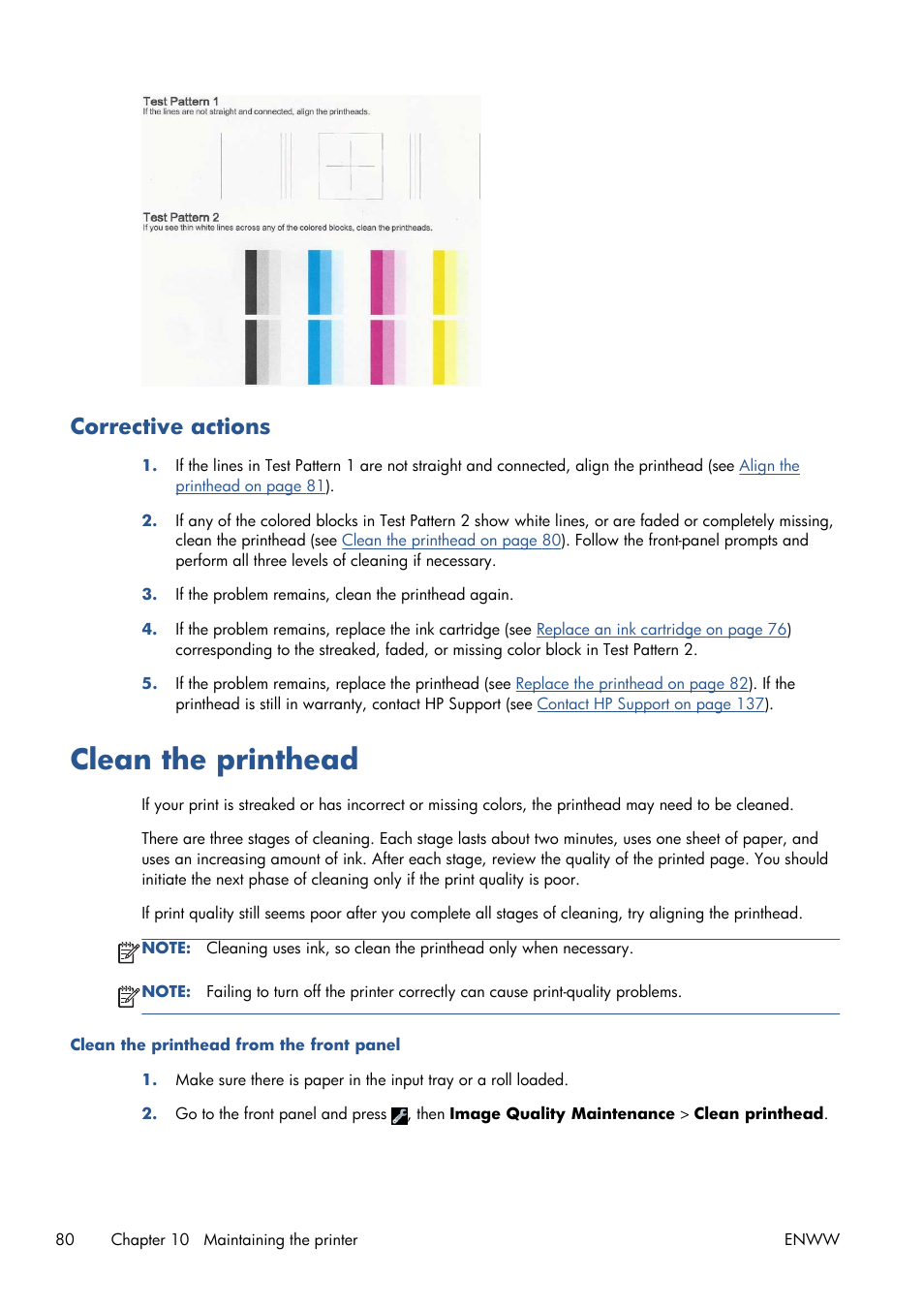 corrective actions clean the printhead hp designjet t120