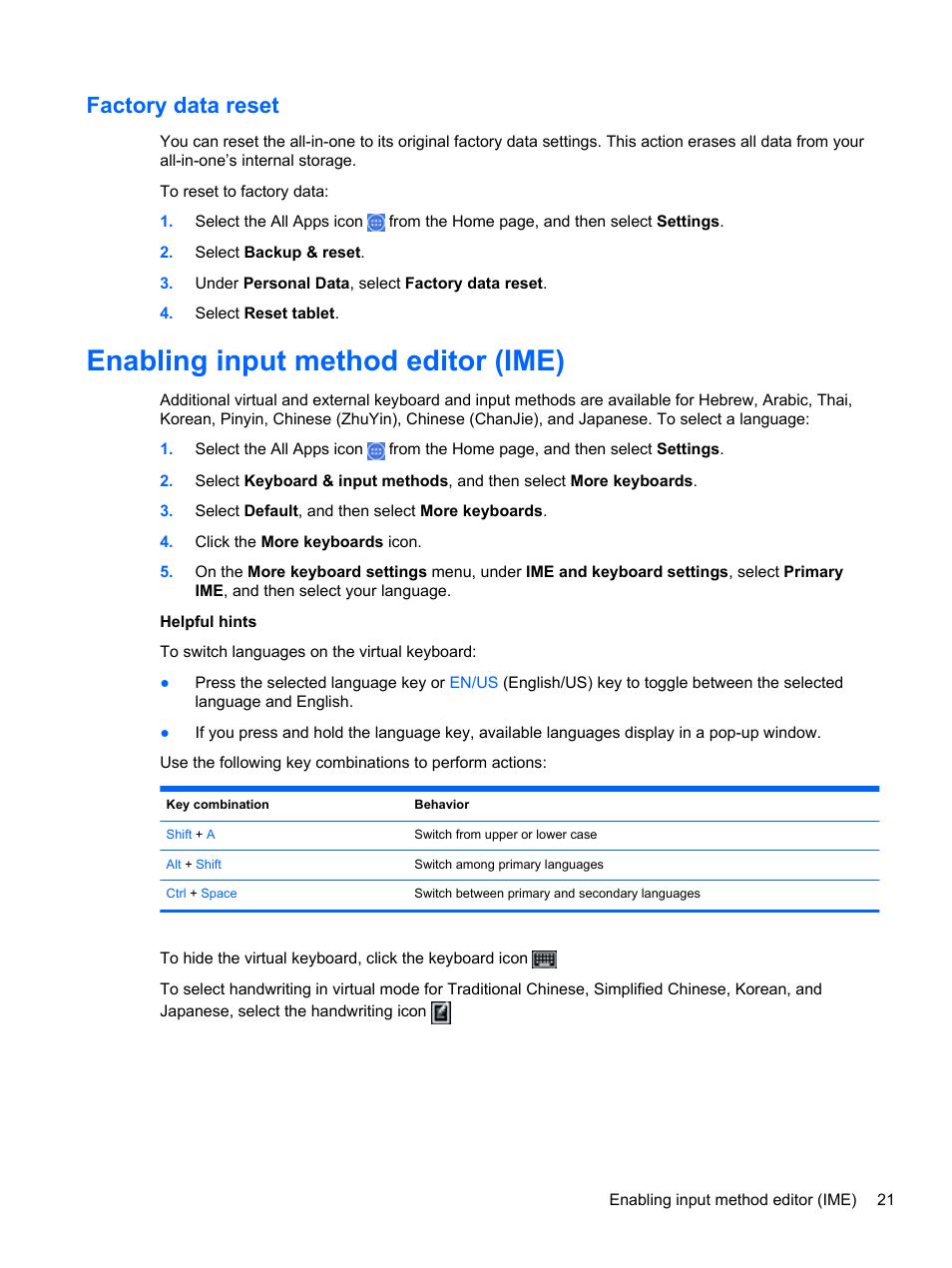 Factory data reset, Enabling input method editor (ime)   HP Slate 21