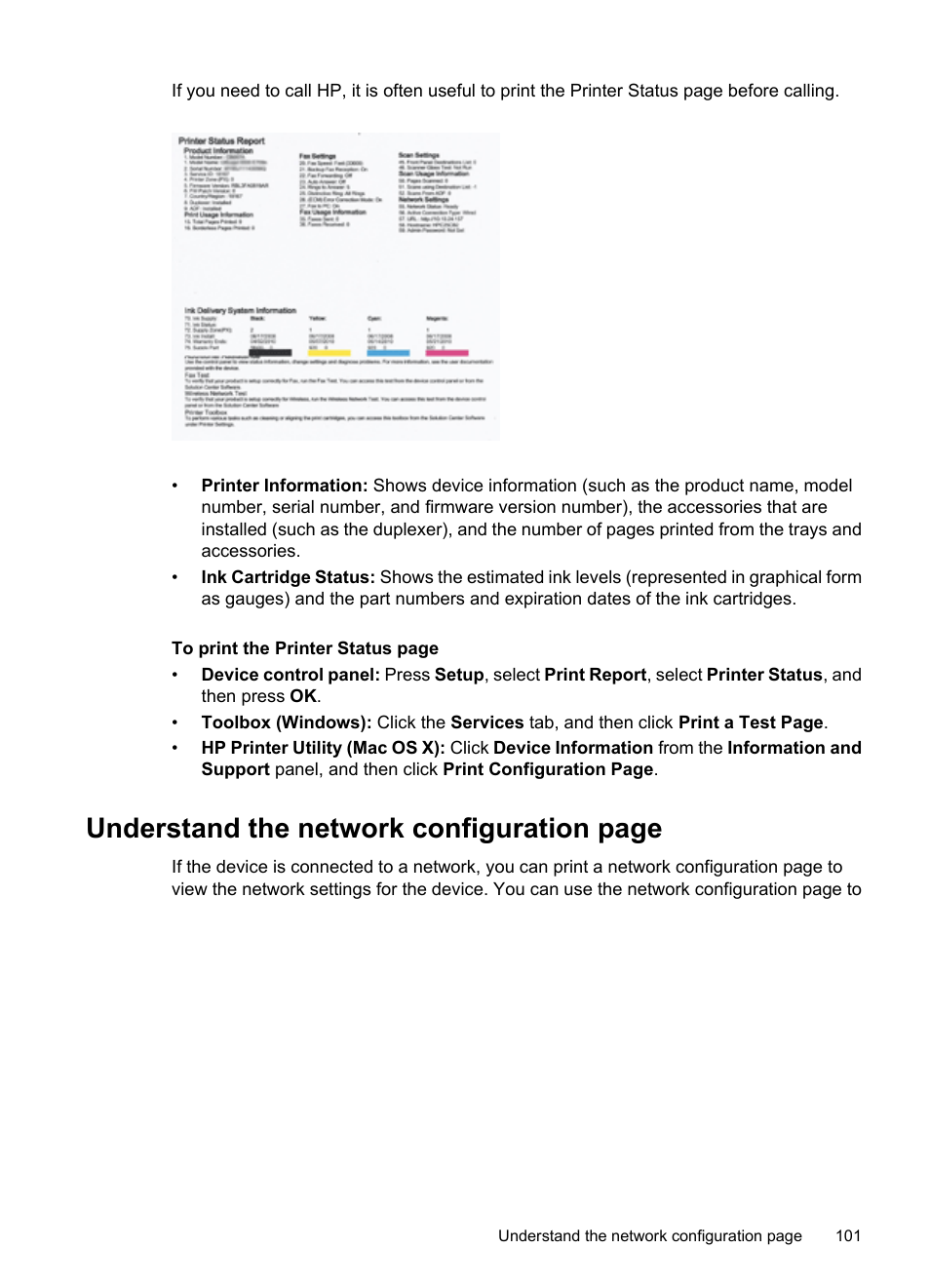 Understand the network configuration page | HP Officejet 6500 User Manual |  Page 105 / 294
