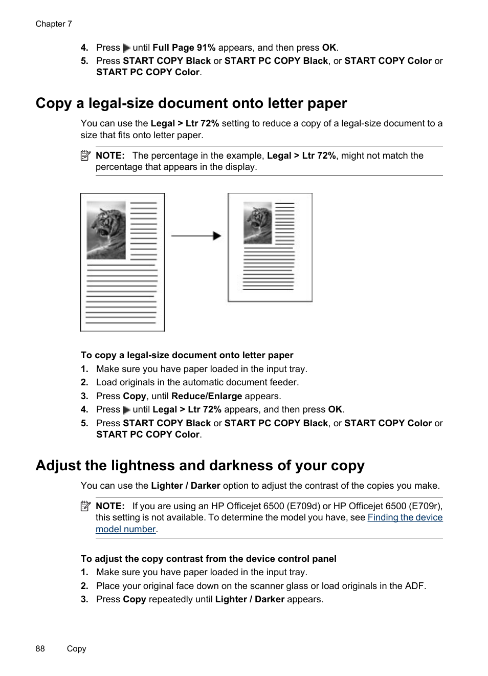 Copy a legal-size document onto letter paper, Adjust the lightness and  darkness of your copy | HP Officejet 6500 User Manual | Page 92 / 294