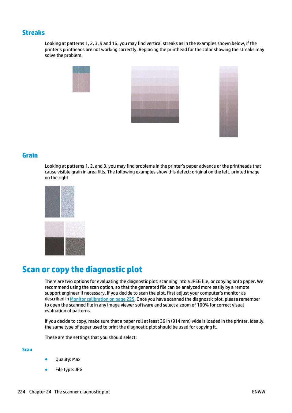 Streaks, Grain, Scan or copy the diagnostic plot   HP Designjet
