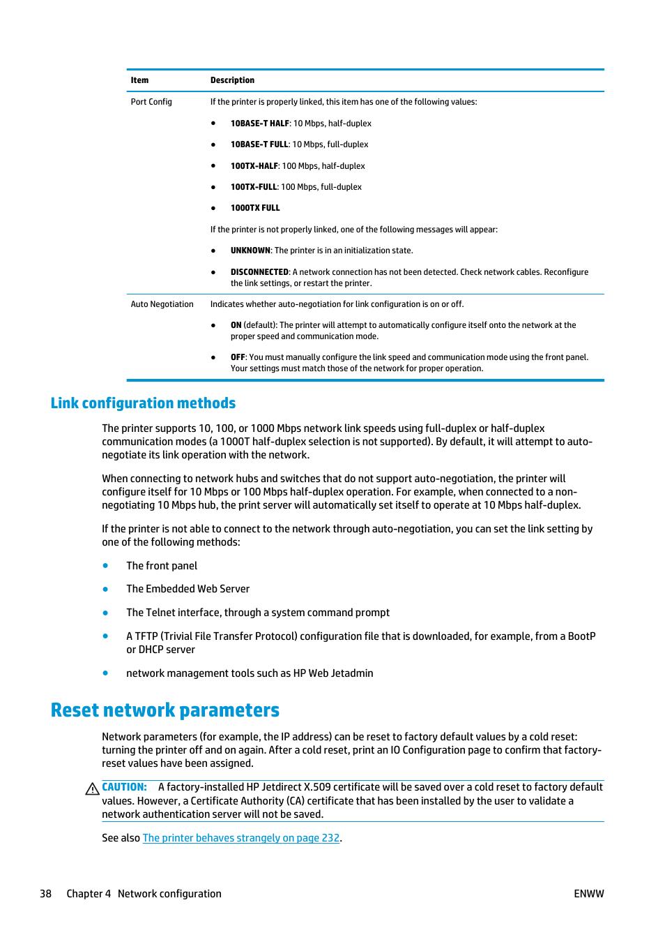 Link configuration methods, Reset network parameters | HP