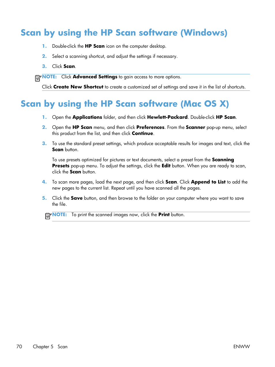Scan by using the hp scan software (windows), Scan by using the hp