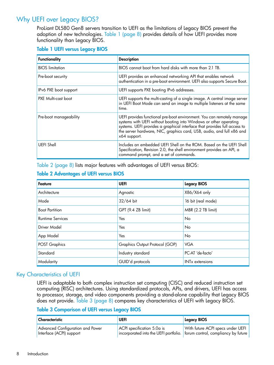 Why uefi over legacy bios, Key characteristics of uefi | HP