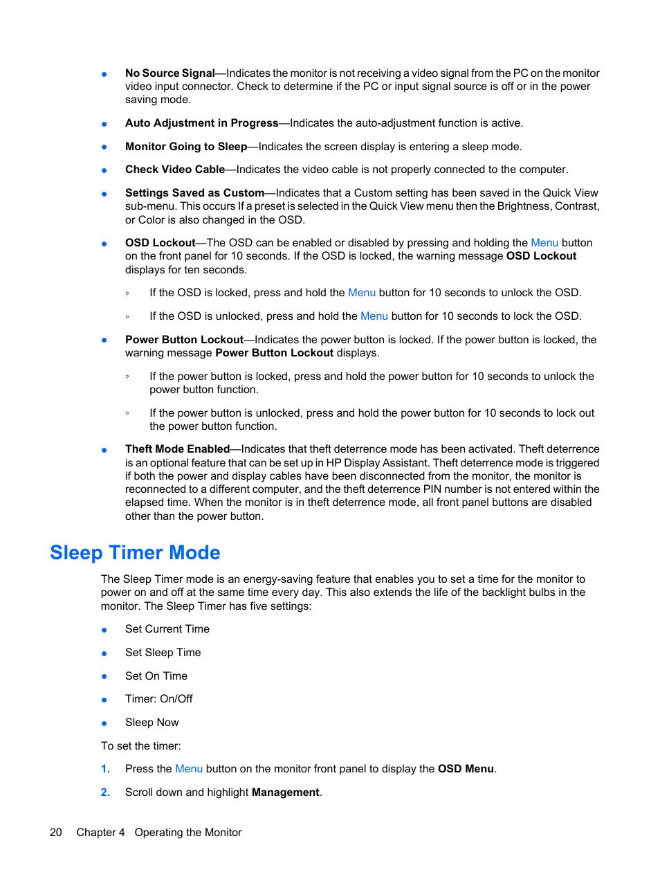 Sleep timer mode   HP Compaq LE1711 17-inch LCD Monitor User