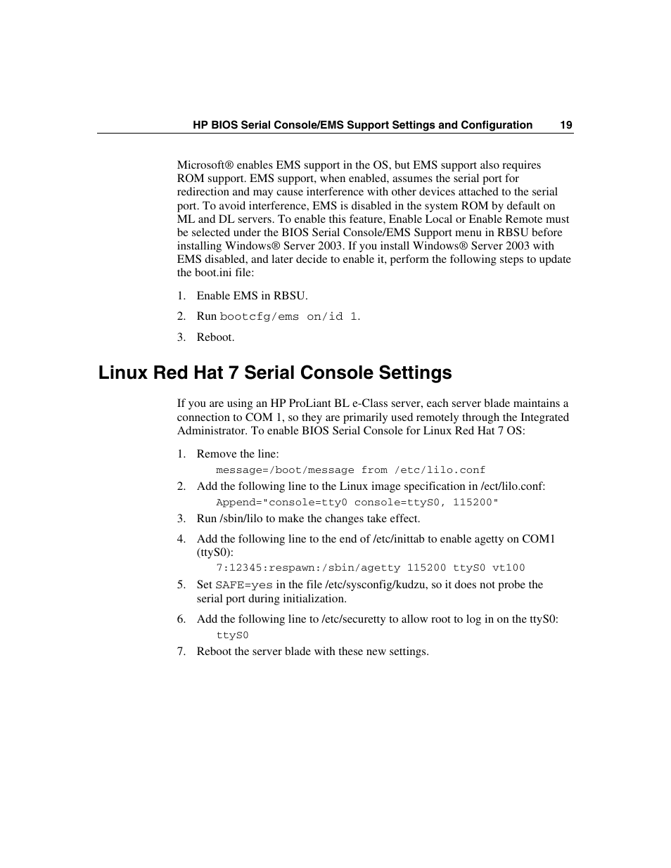 Linux red hat 7 serial console settings | HP ProLiant xw460c