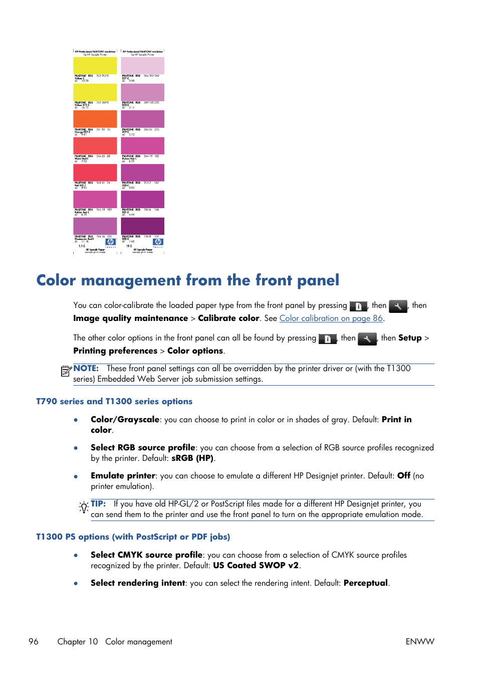 Color management from the front panel | HP Designjet T1300