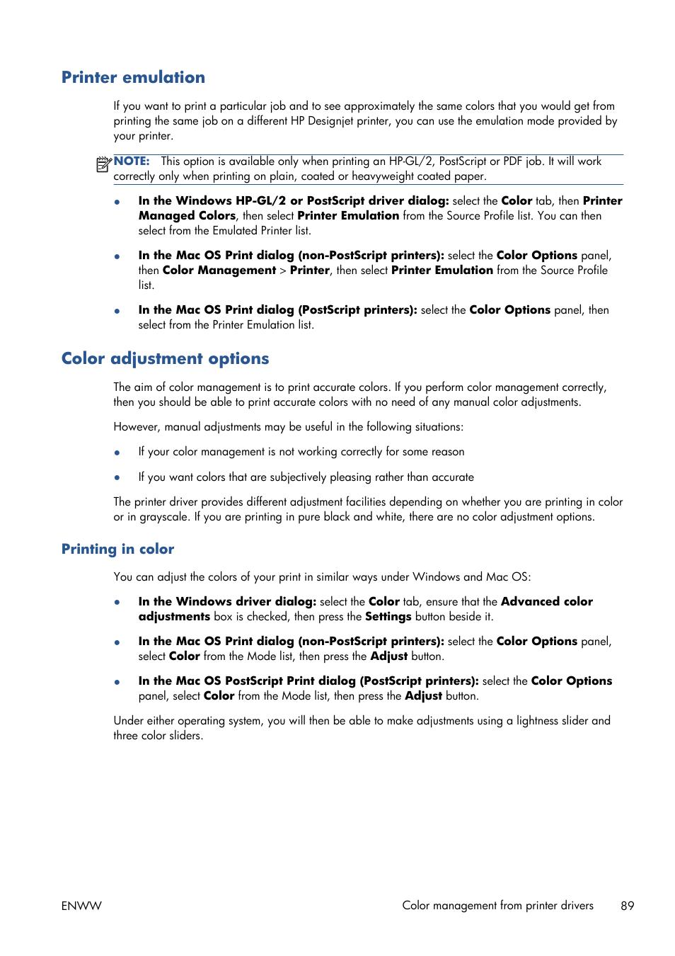Printer emulation, Color adjustment options, Printing in