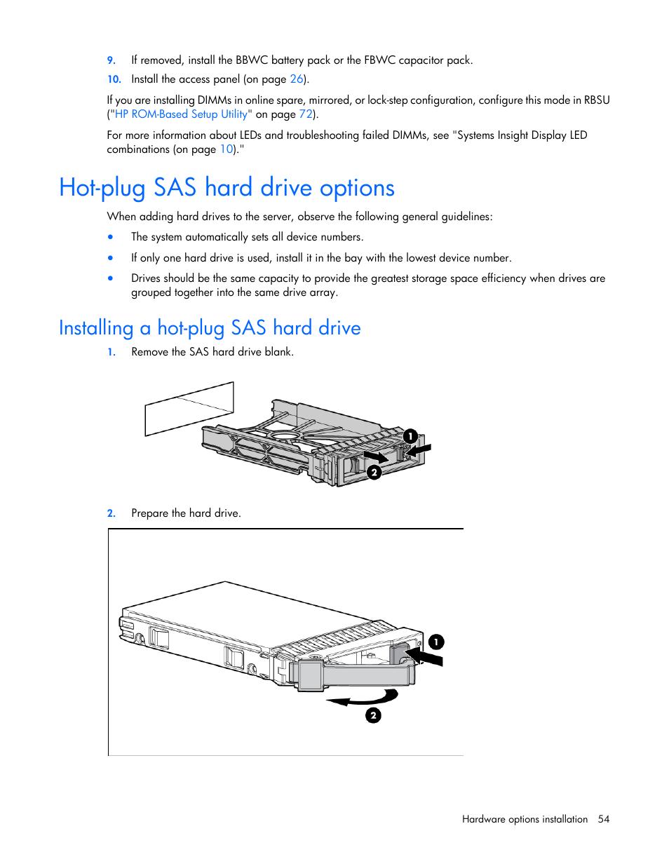 Hot-plug sas hard drive options, Installing a hot-plug sas hard