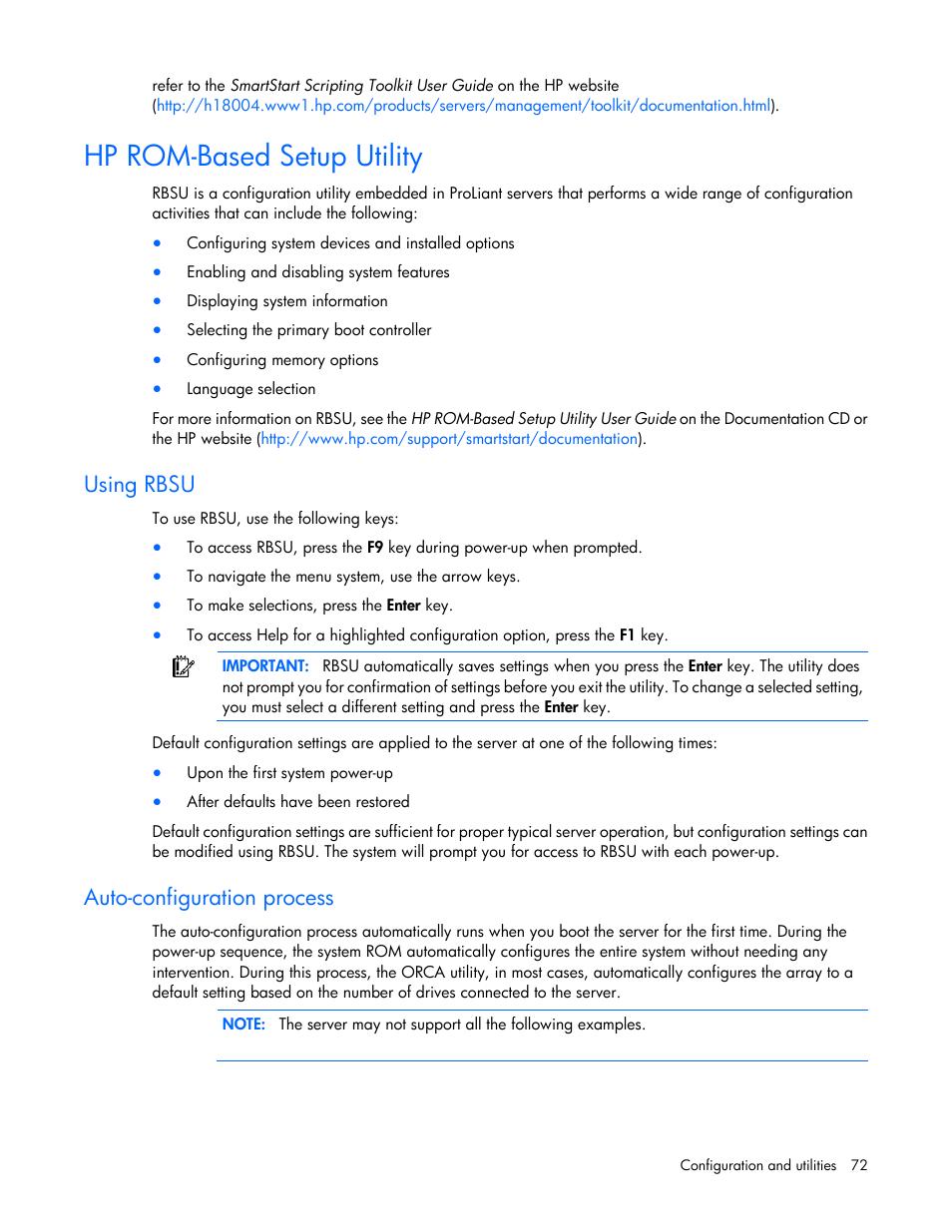 hp rom based setup utility using rbsu auto configuration process rh manualsdir com  hp smartstart scripting toolkit windows edition user guide